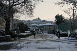 雪の朝の登校風景